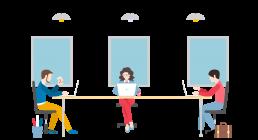 Illustration vectorielle de l'équipe com1sens au bureau