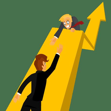 Personnes en chemin vers le succès