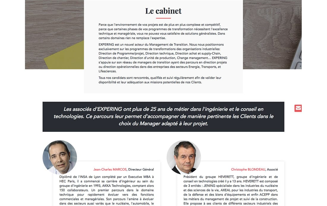 Webdesign about us plateforme recrutement experts