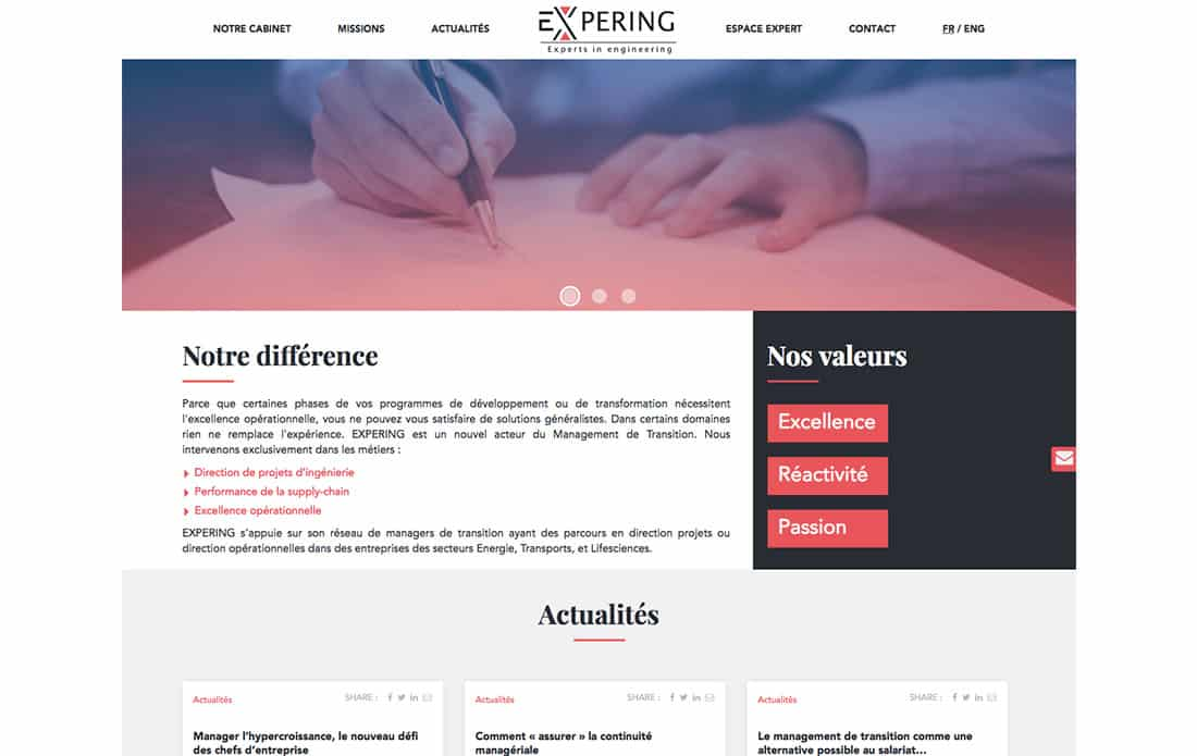 Webdesign accueil plateforme recrutement experts