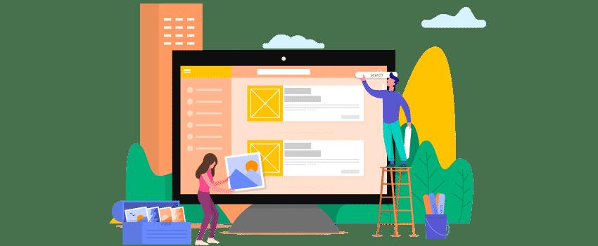 Designers qui construisent une page web dans un écran