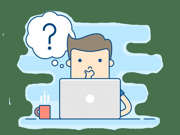 Personnage qui réfléchit devant un écran sur comment monter un projet de création de site web