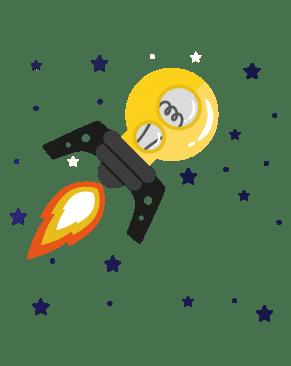 Dessin d'une fusée en forme d'ampoule à idées dans l'espace