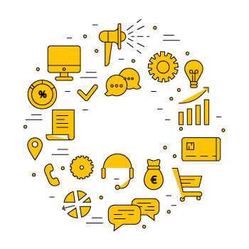 Schéma d'icônes e commerce