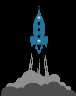 Dessin d'une fusée wordpress au décollage