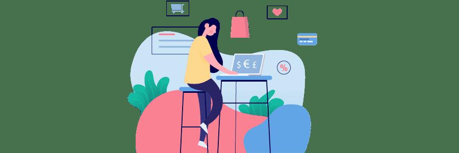 Illustration d'une personne qui cherche une création de site ecommerce Wordpress Prestashop sur un écran