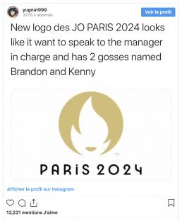 Copie d'écran d'un detournement du logo des JO Paris 2024